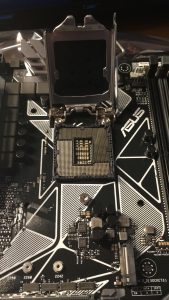 The spot on the motherboard for the CPU.